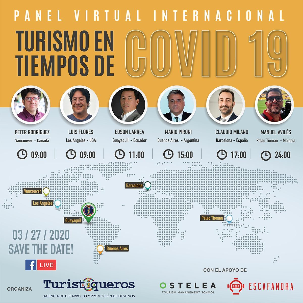 Participantes del panel virtual sobre turismo en epocas de COVID 19